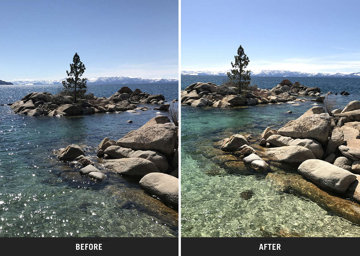 polarizing filter before and after